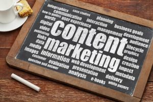 Old Fashioned Chalkboard With The Words Content Marketing