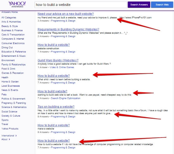 Yahoo answers results page