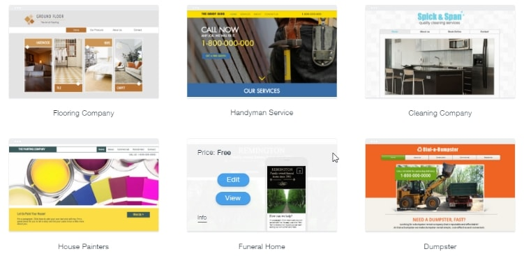 Six Wix templates from the business section