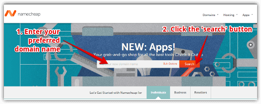 Namecheap home page where you can select your domain
