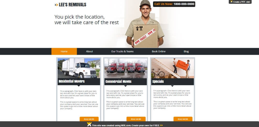 Homepage of my removal company test site built with Wix