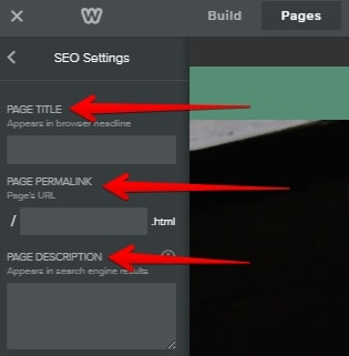 Optimize your Weebly site by changing page title and URL inside the setting screen