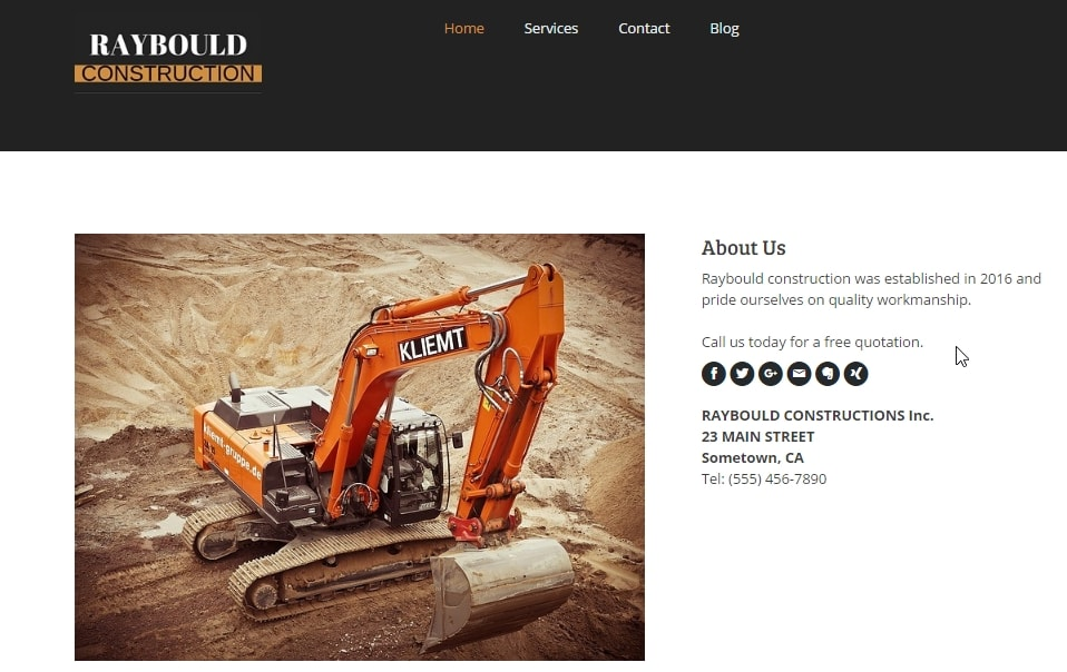 Example construction website created with Jimdo