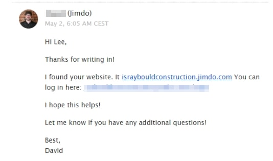 email response received from Jimdo support team