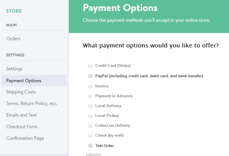 Payment settings screen