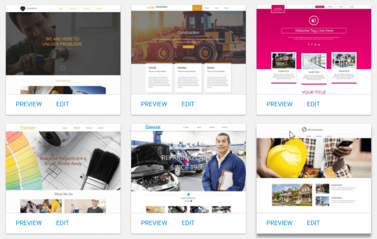 Selection of templates from the professional services category