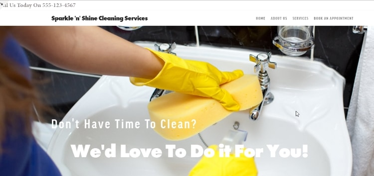 Cleaning business example website built with Squarespace