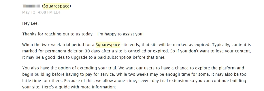 Squarespace ticket response