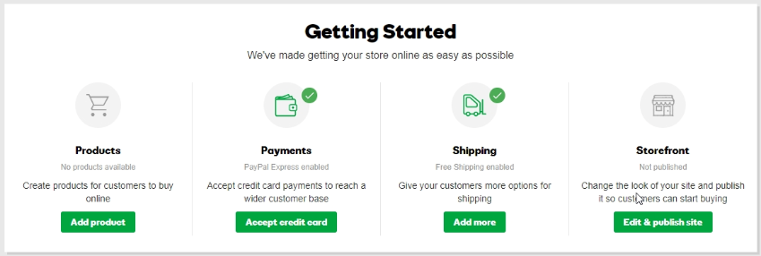 eCommerce setting for Gadaddy store builder