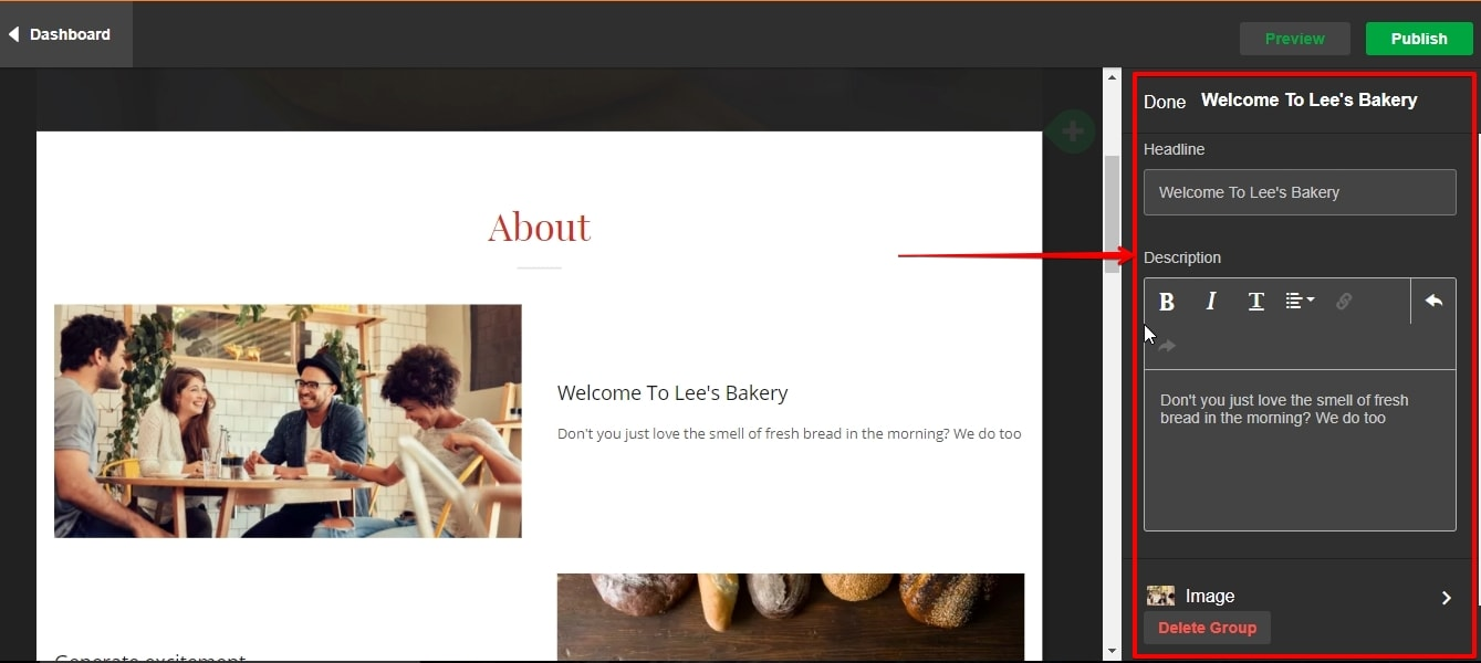 Editing text and images on your website