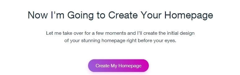 Wix will now create your homepage