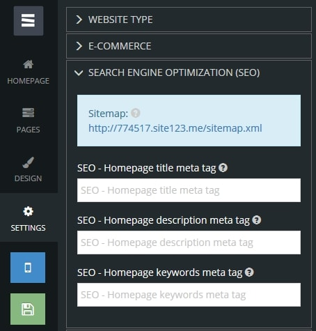 Search optimization settings panel
