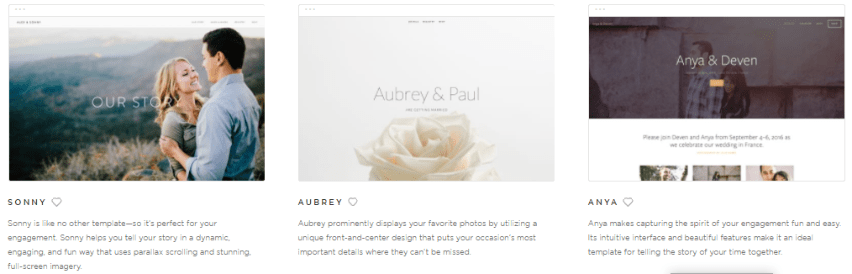 Small selection of Squarespace wedding themes