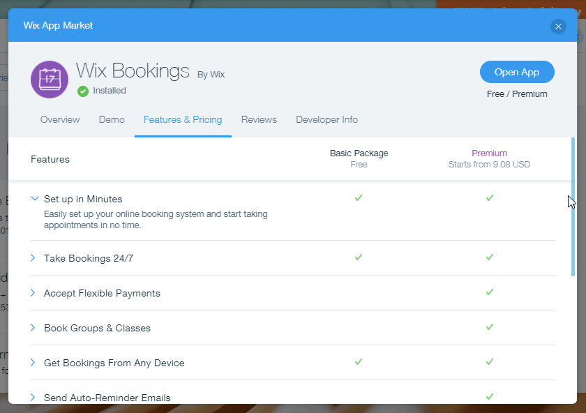 A look inside Wix Booking features and pricing