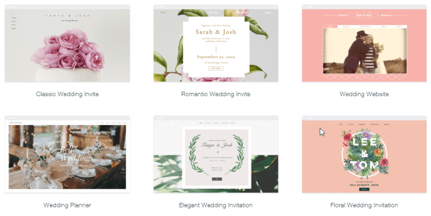 Snapshot of some of Wix's wedding templates