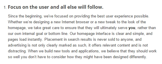 snapshot of Google's philosophy to put the end user first
