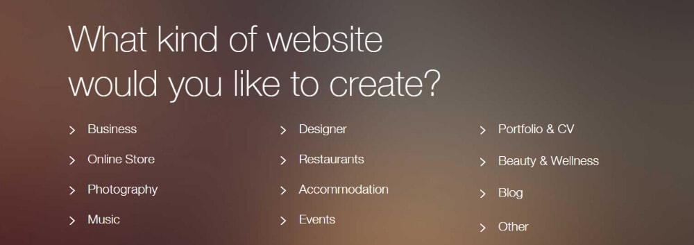 Choosing what type of website you'd like to create