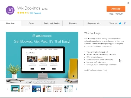 Wix Booking app