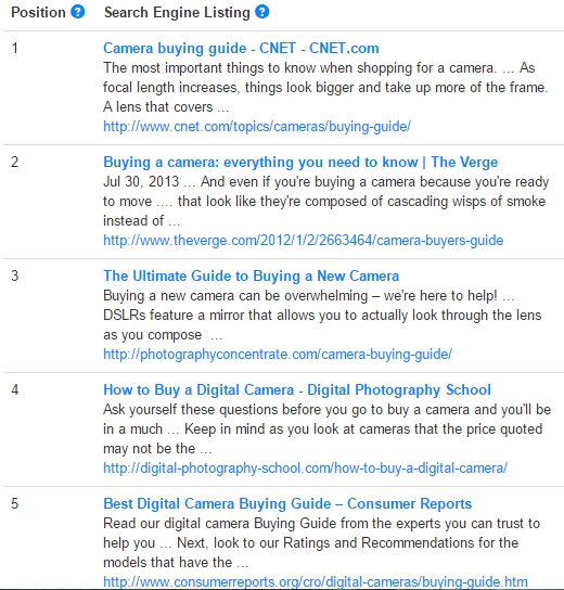 "google results for ""what to look for when buying a camera"