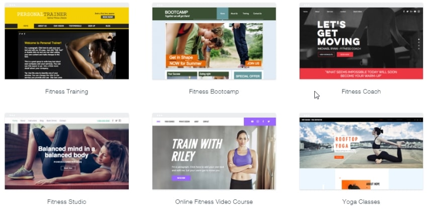 6 templates from the fitness category
